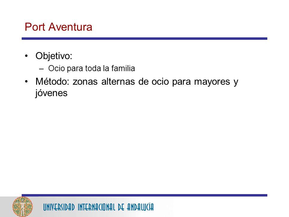 Port Aventura Objetivo: –Ocio para toda la familia Método: zonas alternas de ocio para mayores y jóvenes