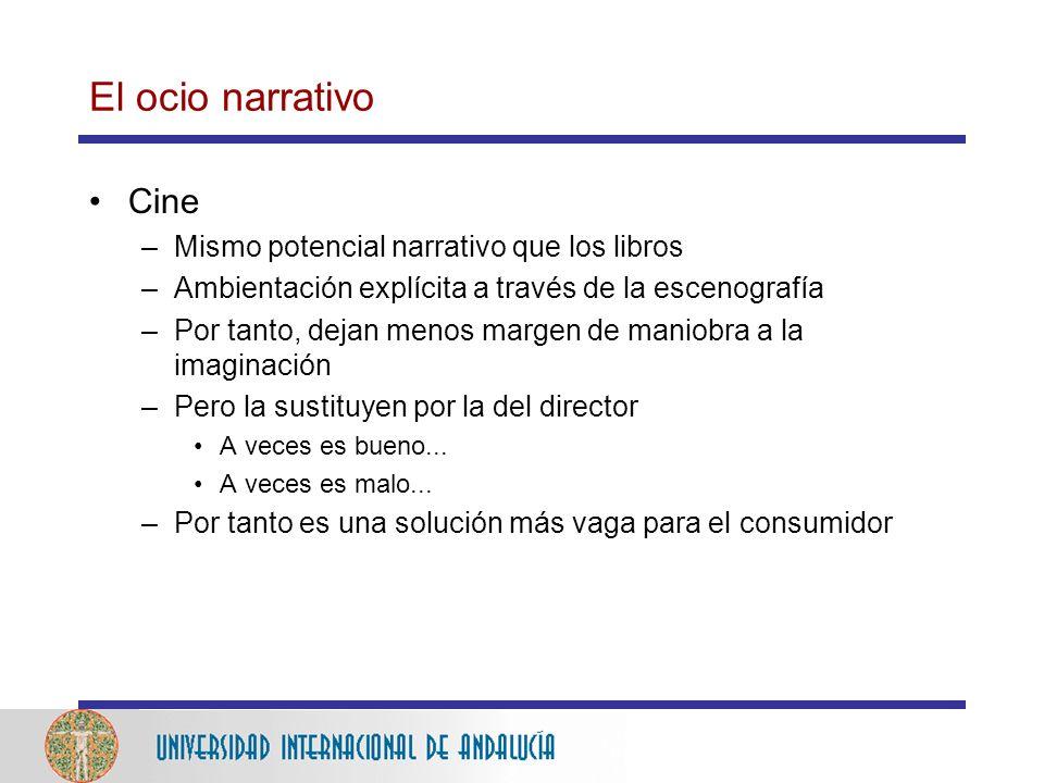 El ocio narrativo Cine –Mismo potencial narrativo que los libros –Ambientación explícita a través de la escenografía –Por tanto, dejan menos margen de maniobra a la imaginación –Pero la sustituyen por la del director A veces es bueno...