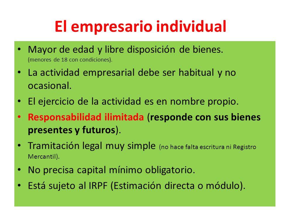 El empresario individual Mayor de edad y libre disposición de bienes. (menores de 18 con condiciones). La actividad empresarial debe ser habitual y no