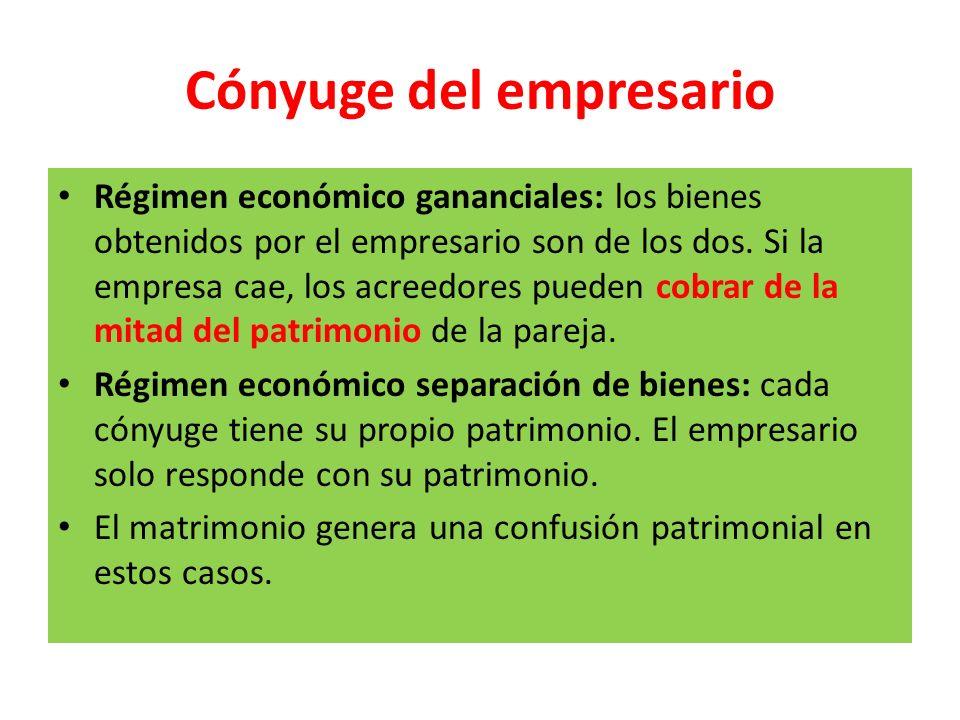 Cónyuge del empresario Régimen económico gananciales: los bienes obtenidos por el empresario son de los dos. Si la empresa cae, los acreedores pueden