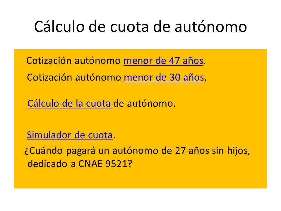 Cálculo de cuota de autónomo Cotización autónomo menor de 47 años.menor de 47 años Cotización autónomo menor de 30 años. Cálculo de la cuota de autóno