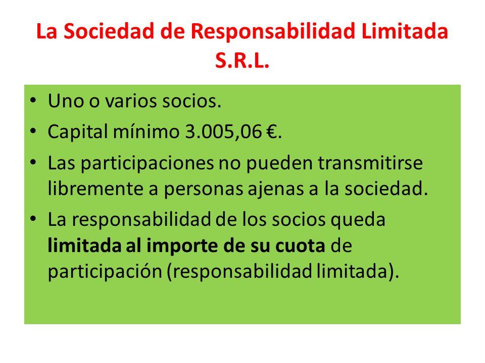 La Sociedad de Responsabilidad Limitada S.R.L. Uno o varios socios. Capital mínimo 3.005,06. Las participaciones no pueden transmitirse libremente a p