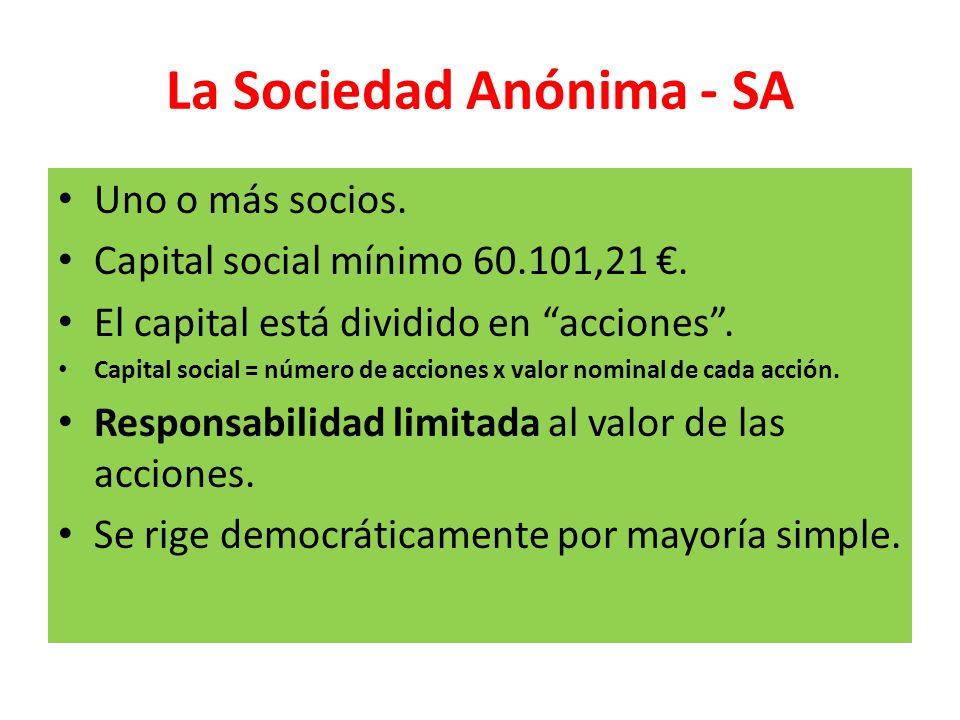 La Sociedad Anónima - SA Uno o más socios. Capital social mínimo 60.101,21. El capital está dividido en acciones. Capital social = número de acciones