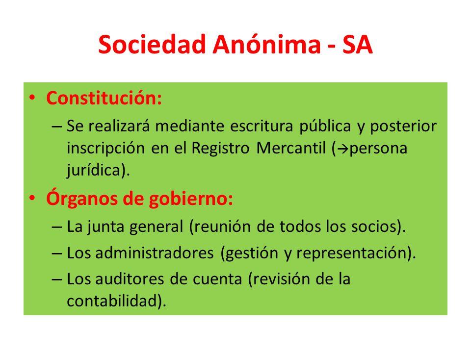 Sociedad Anónima - SA Constitución: – Se realizará mediante escritura pública y posterior inscripción en el Registro Mercantil ( persona jurídica). Ór