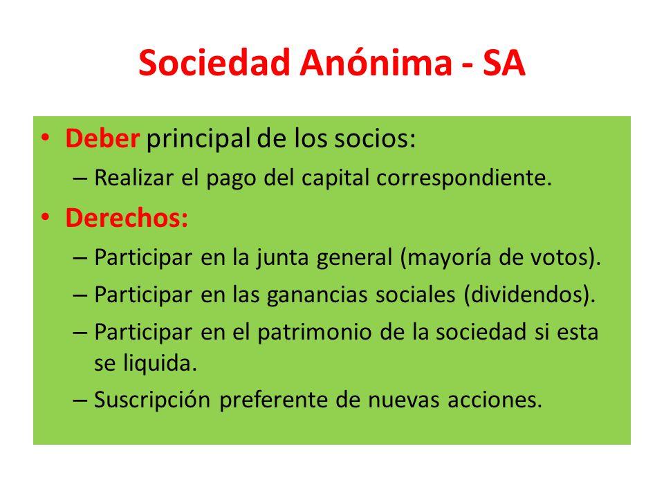 Sociedad Anónima - SA Deber principal de los socios: – Realizar el pago del capital correspondiente. Derechos: – Participar en la junta general (mayor