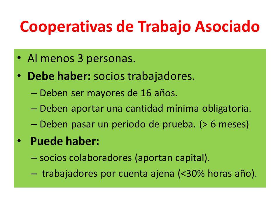 Cooperativas de Trabajo Asociado Al menos 3 personas. Debe haber: socios trabajadores. – Deben ser mayores de 16 años. – Deben aportar una cantidad mí