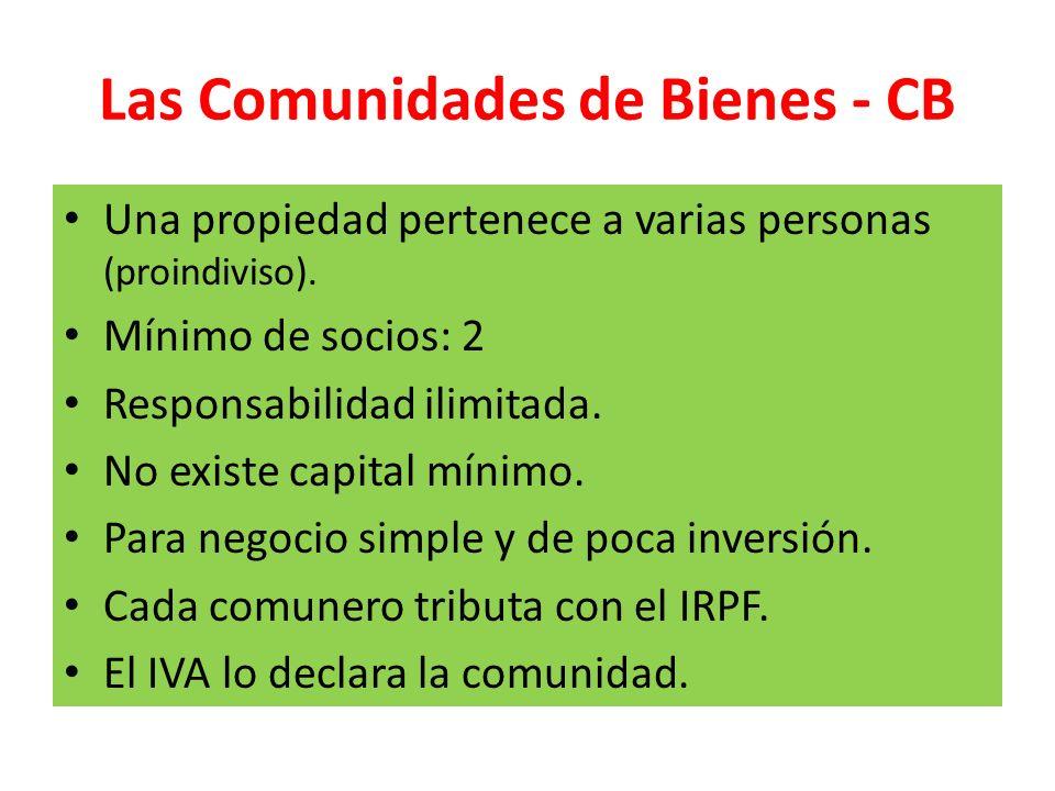 Las Comunidades de Bienes - CB Una propiedad pertenece a varias personas (proindiviso). Mínimo de socios: 2 Responsabilidad ilimitada. No existe capit