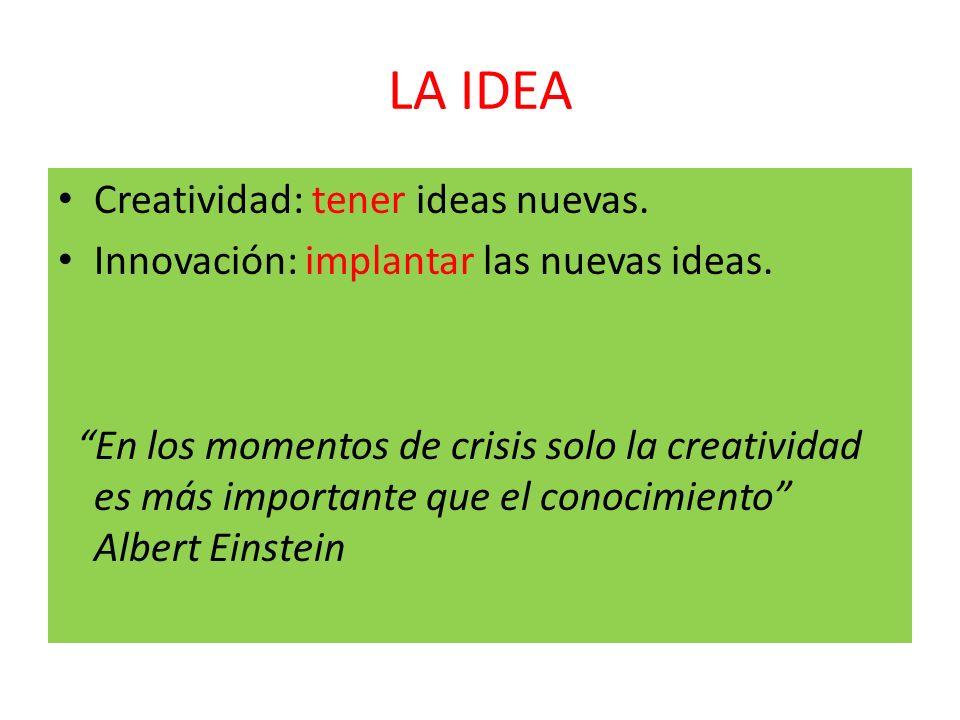 LA IDEA Creatividad: tener ideas nuevas. Innovación: implantar las nuevas ideas. En los momentos de crisis solo la creatividad es más importante que e