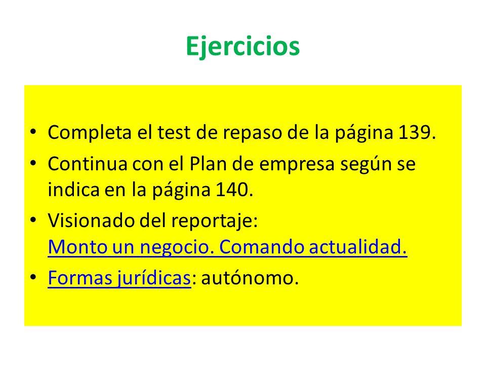 Ejercicios Completa el test de repaso de la página 139. Continua con el Plan de empresa según se indica en la página 140. Visionado del reportaje: Mon