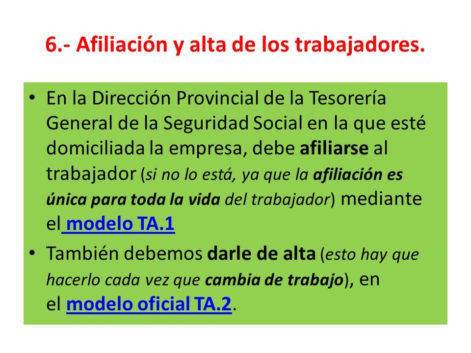 6.- Afiliación y alta de los trabajadores. En la Dirección Provincial de la Tesorería General de la Seguridad Social en la que esté domiciliada la emp