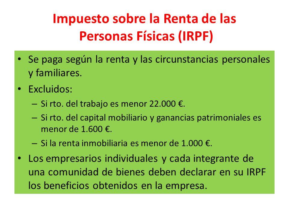 Impuesto sobre la Renta de las Personas Físicas (IRPF) Se paga según la renta y las circunstancias personales y familiares. Excluidos: – Si rto. del t