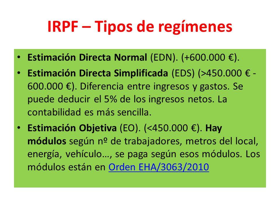 IRPF – Tipos de regímenes Estimación Directa Normal (EDN). (+600.000 ). Estimación Directa Simplificada (EDS) (>450.000 - 600.000 ). Diferencia entre