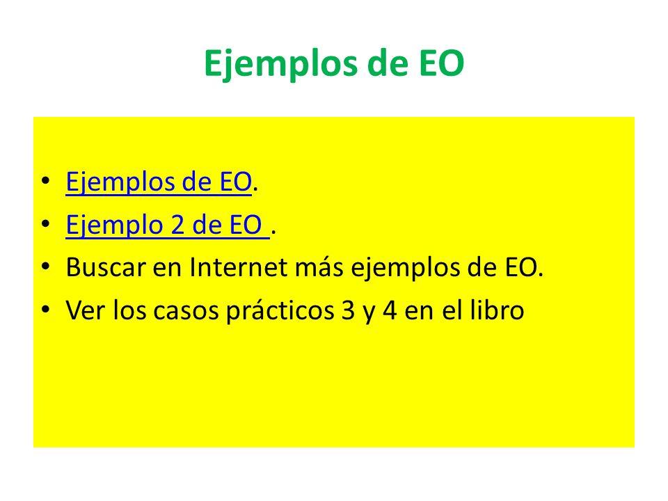 Ejemplos de EO Ejemplos de EO. Ejemplos de EO Ejemplo 2 de EO. Ejemplo 2 de EO Buscar en Internet más ejemplos de EO. Ver los casos prácticos 3 y 4 en