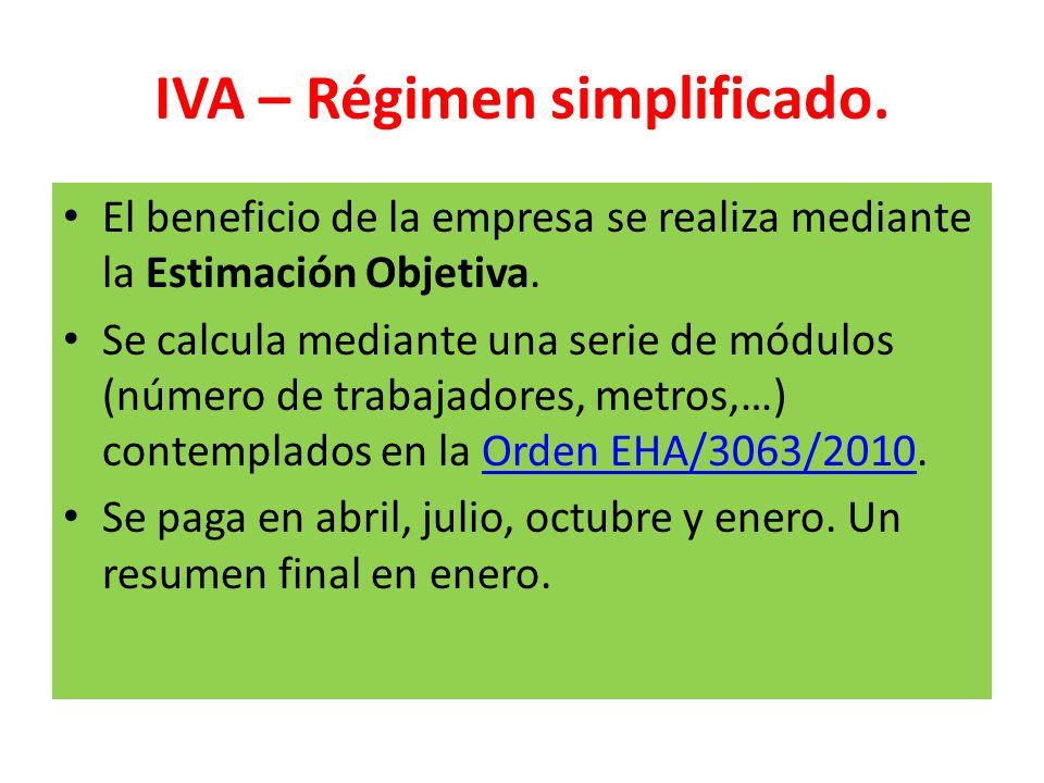 IVA – Régimen simplificado. El beneficio de la empresa se realiza mediante la Estimación Objetiva. Se calcula mediante una serie de módulos (número de