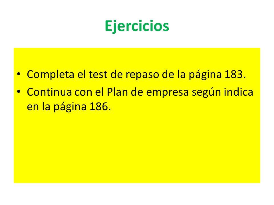 Ejercicios Completa el test de repaso de la página 183. Continua con el Plan de empresa según indica en la página 186.