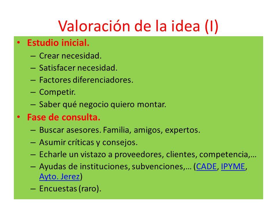 Valoración de la idea (I) Estudio inicial. – Crear necesidad. – Satisfacer necesidad. – Factores diferenciadores. – Competir. – Saber qué negocio quie
