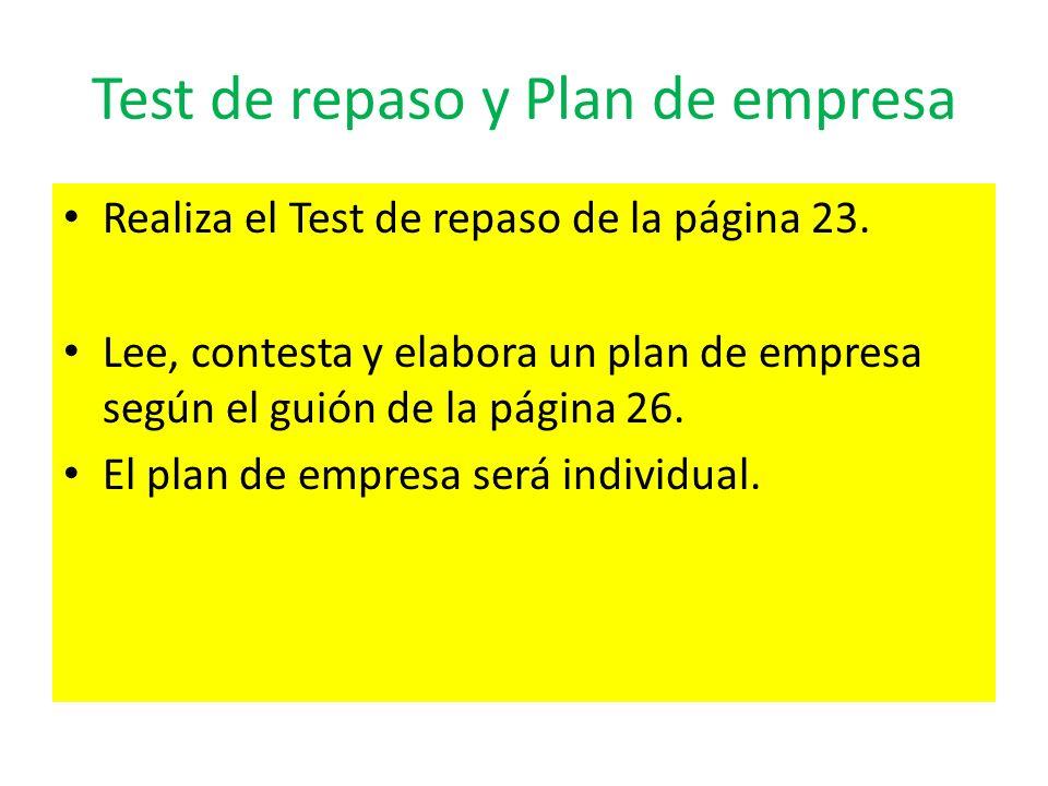 Test de repaso y Plan de empresa Realiza el Test de repaso de la página 23. Lee, contesta y elabora un plan de empresa según el guión de la página 26.
