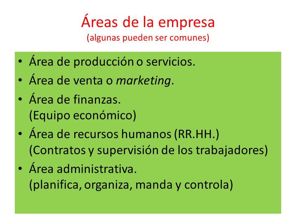 Áreas de la empresa (algunas pueden ser comunes) Área de producción o servicios. Área de venta o marketing. Área de finanzas. (Equipo económico) Área