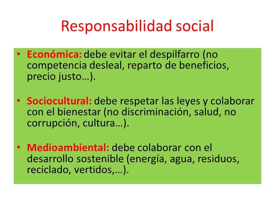 Responsabilidad social Económica: debe evitar el despilfarro (no competencia desleal, reparto de beneficios, precio justo…). Sociocultural: debe respe