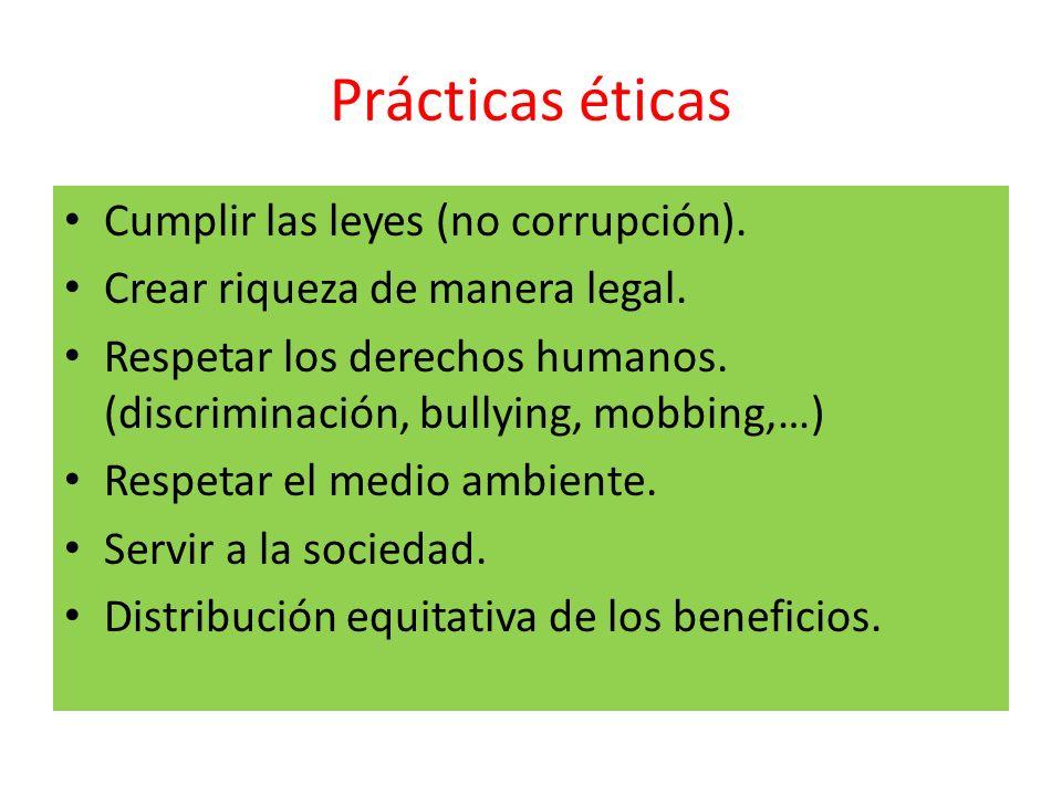 Prácticas éticas Cumplir las leyes (no corrupción). Crear riqueza de manera legal. Respetar los derechos humanos. (discriminación, bullying, mobbing,…