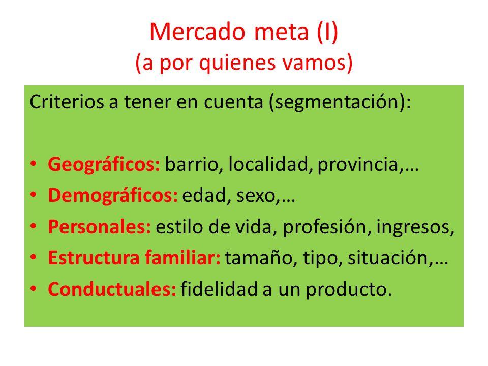 Mercado meta (I) (a por quienes vamos) Criterios a tener en cuenta (segmentación): Geográficos: barrio, localidad, provincia,… Demográficos: edad, sex