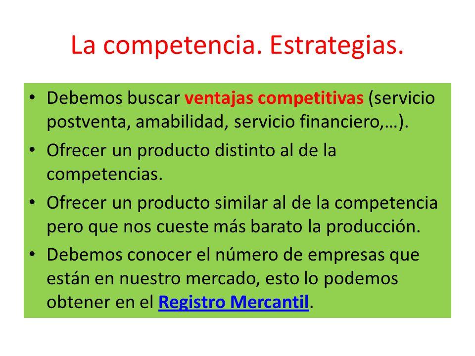 La competencia. Estrategias. Debemos buscar ventajas competitivas (servicio postventa, amabilidad, servicio financiero,…). Ofrecer un producto distint