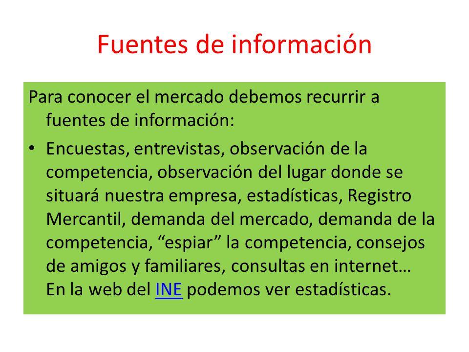 Fuentes de información Para conocer el mercado debemos recurrir a fuentes de información: Encuestas, entrevistas, observación de la competencia, obser
