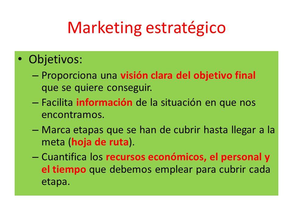 Marketing estratégico Objetivos: – Proporciona una visión clara del objetivo final que se quiere conseguir. – Facilita información de la situación en