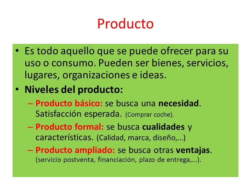 Producto Es todo aquello que se puede ofrecer para su uso o consumo. Pueden ser bienes, servicios, lugares, organizaciones e ideas. Niveles del produc