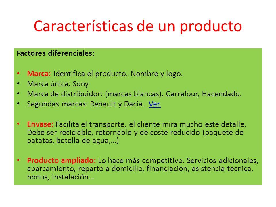 Características de un producto Factores diferenciales: Marca: Identifica el producto. Nombre y logo. Marca única: Sony Marca de distribuidor: (marcas