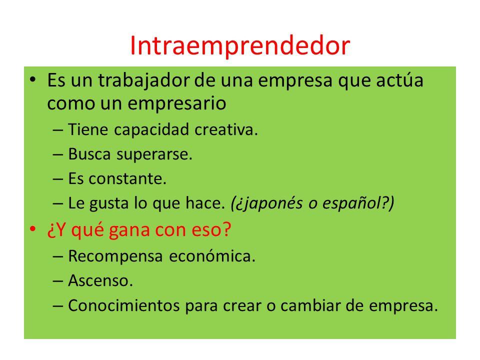 Intraemprendedor Es un trabajador de una empresa que actúa como un empresario – Tiene capacidad creativa. – Busca superarse. – Es constante. – Le gust