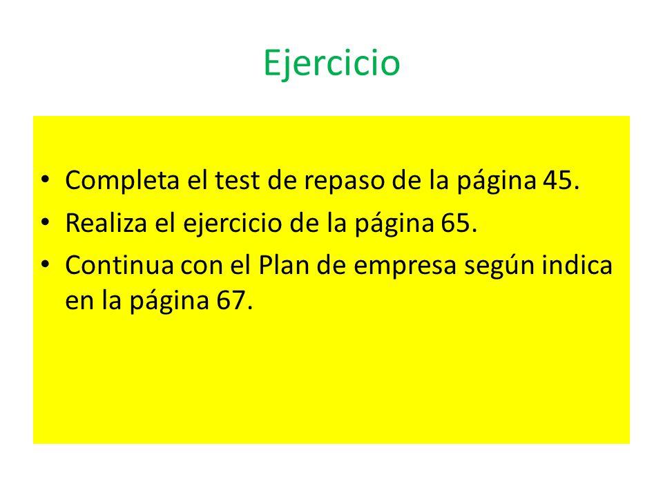 Ejercicio Completa el test de repaso de la página 45. Realiza el ejercicio de la página 65. Continua con el Plan de empresa según indica en la página