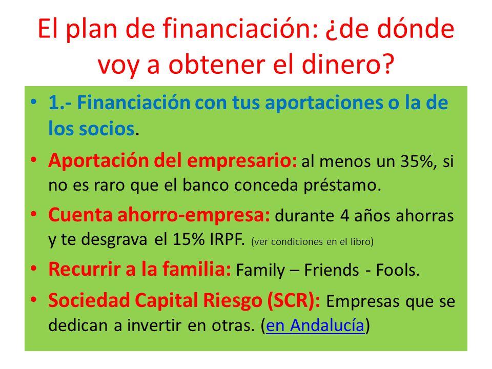 El plan de financiación: ¿de dónde voy a obtener el dinero? 1.- Financiación con tus aportaciones o la de los socios. Aportación del empresario: al me