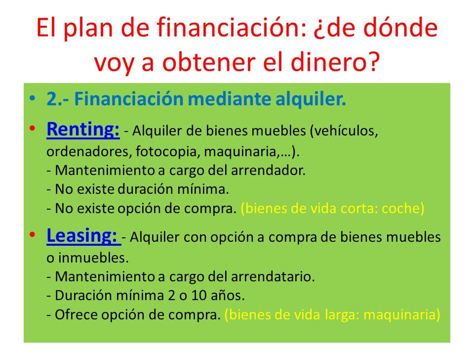 El plan de financiación: ¿de dónde voy a obtener el dinero? 2.- Financiación mediante alquiler. Renting: - Alquiler de bienes muebles (vehículos, orde