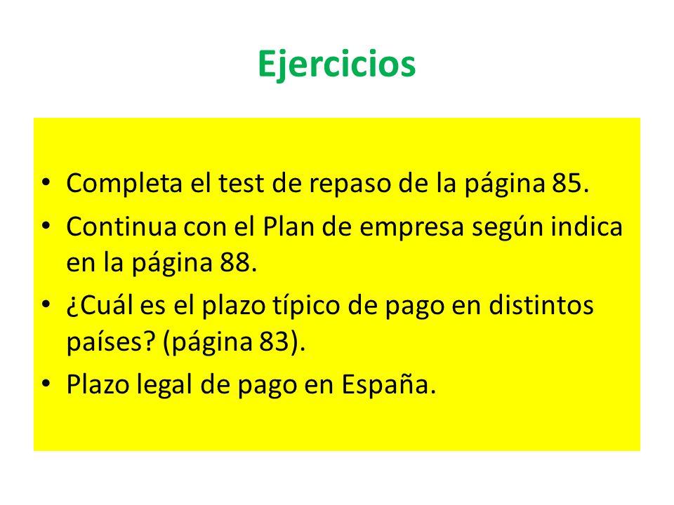 Ejercicios Completa el test de repaso de la página 85. Continua con el Plan de empresa según indica en la página 88. ¿Cuál es el plazo típico de pago
