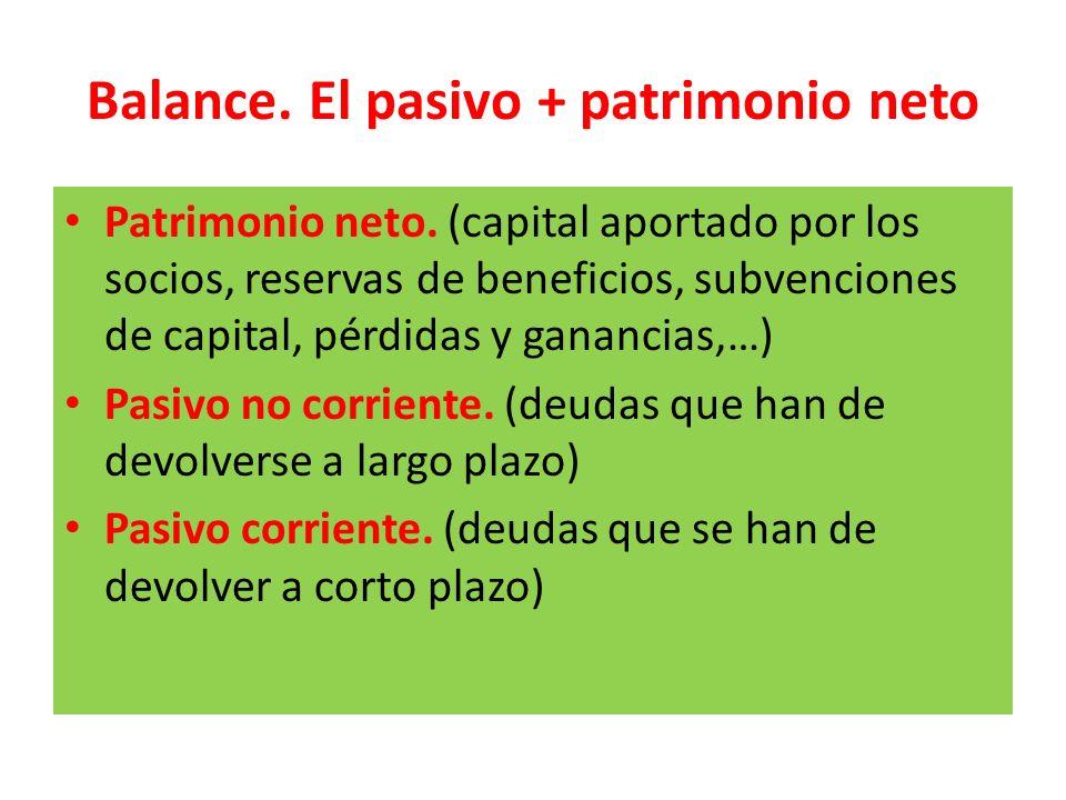 Balance. El pasivo + patrimonio neto Patrimonio neto. (capital aportado por los socios, reservas de beneficios, subvenciones de capital, pérdidas y ga