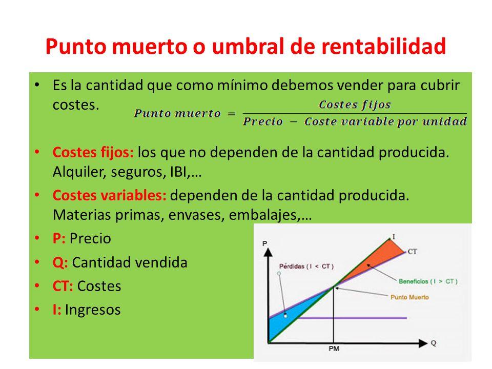 Punto muerto o umbral de rentabilidad Es la cantidad que como mínimo debemos vender para cubrir costes. Costes fijos: los que no dependen de la cantid