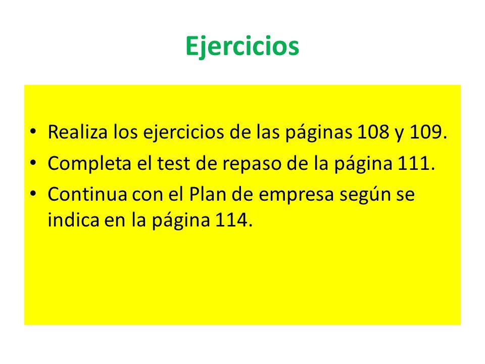 Ejercicios Realiza los ejercicios de las páginas 108 y 109. Completa el test de repaso de la página 111. Continua con el Plan de empresa según se indi