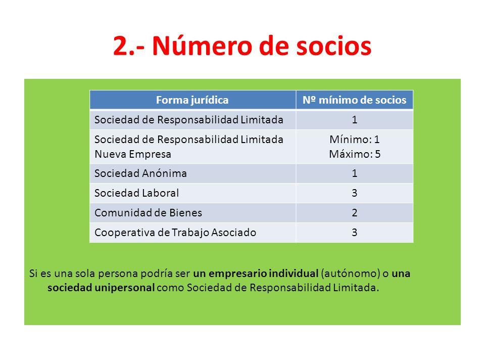 2.- Número de socios Si es una sola persona podría ser un empresario individual (autónomo) o una sociedad unipersonal como Sociedad de Responsabilidad