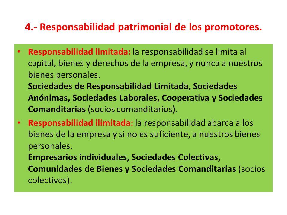 4.- Responsabilidad patrimonial de los promotores. Responsabilidad limitada: la responsabilidad se limita al capital, bienes y derechos de la empresa,