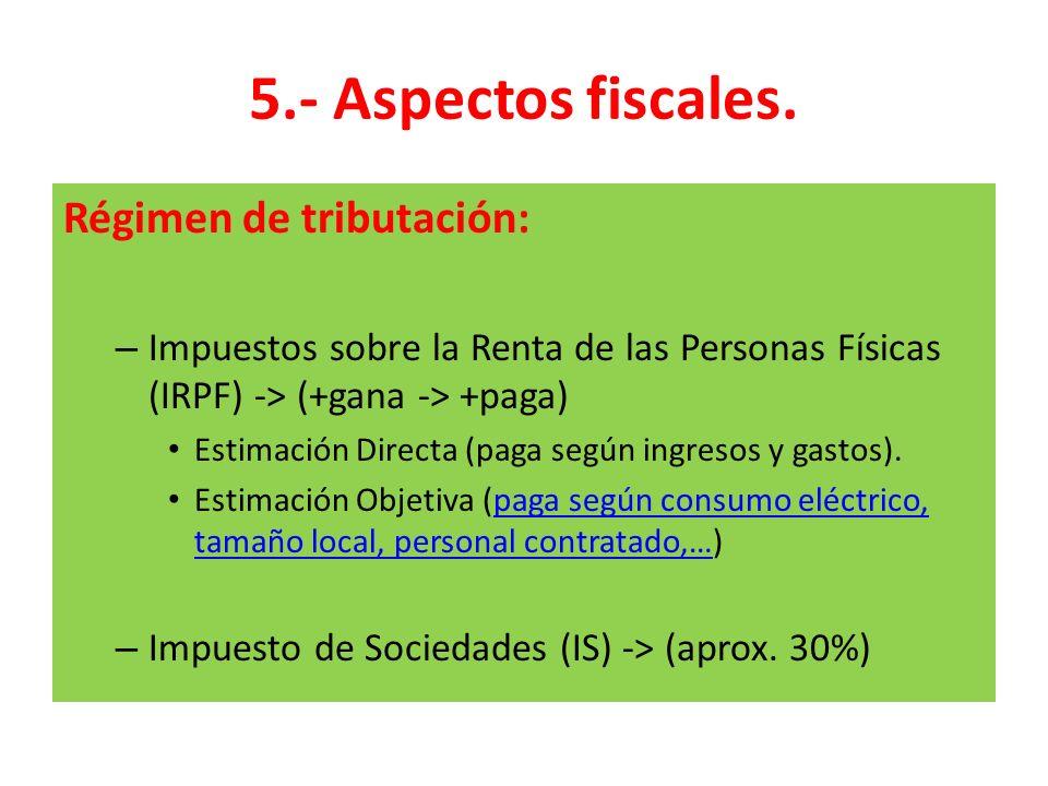 5.- Aspectos fiscales. Régimen de tributación: – Impuestos sobre la Renta de las Personas Físicas (IRPF) -> (+gana -> +paga) Estimación Directa (paga