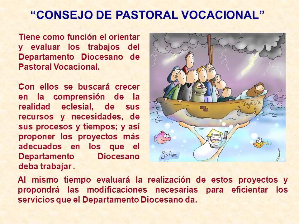 CONSEJO DE PASTORAL VOCACIONAL Tiene como función el orientar y evaluar los trabajos del Departamento Diocesano de Pastoral Vocacional. Con ellos se b