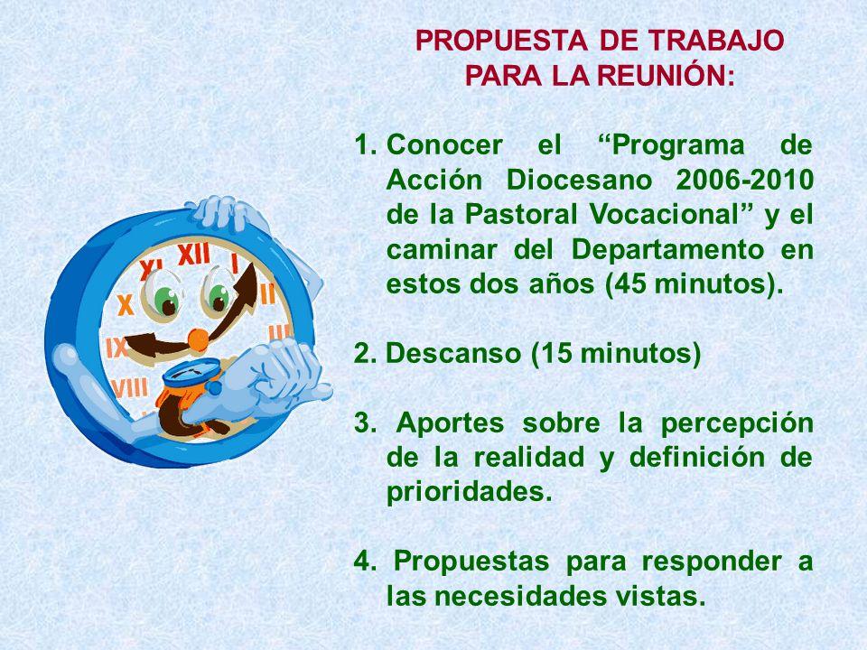 PROPUESTA DE TRABAJO PARA LA REUNIÓN: 1.Conocer el Programa de Acción Diocesano 2006-2010 de la Pastoral Vocacional y el caminar del Departamento en e