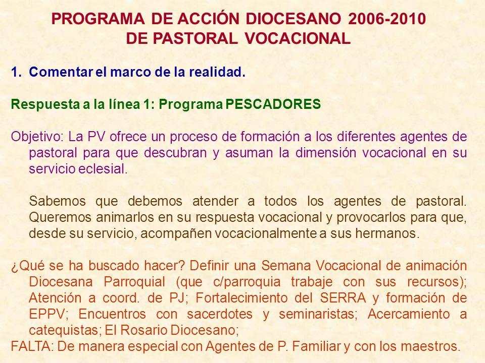PROGRAMA DE ACCIÓN DIOCESANO 2006-2010 DE PASTORAL VOCACIONAL 1.Comentar el marco de la realidad. Respuesta a la línea 1: Programa PESCADORES Objetivo