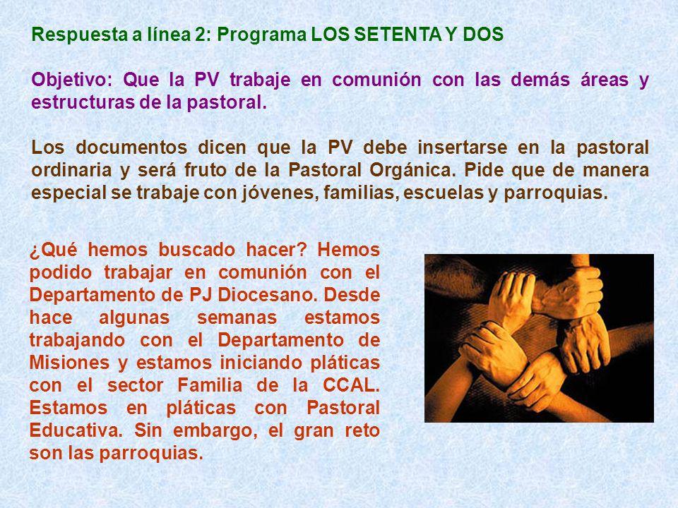 Respuesta a línea 2: Programa LOS SETENTA Y DOS Objetivo: Que la PV trabaje en comunión con las demás áreas y estructuras de la pastoral. Los document