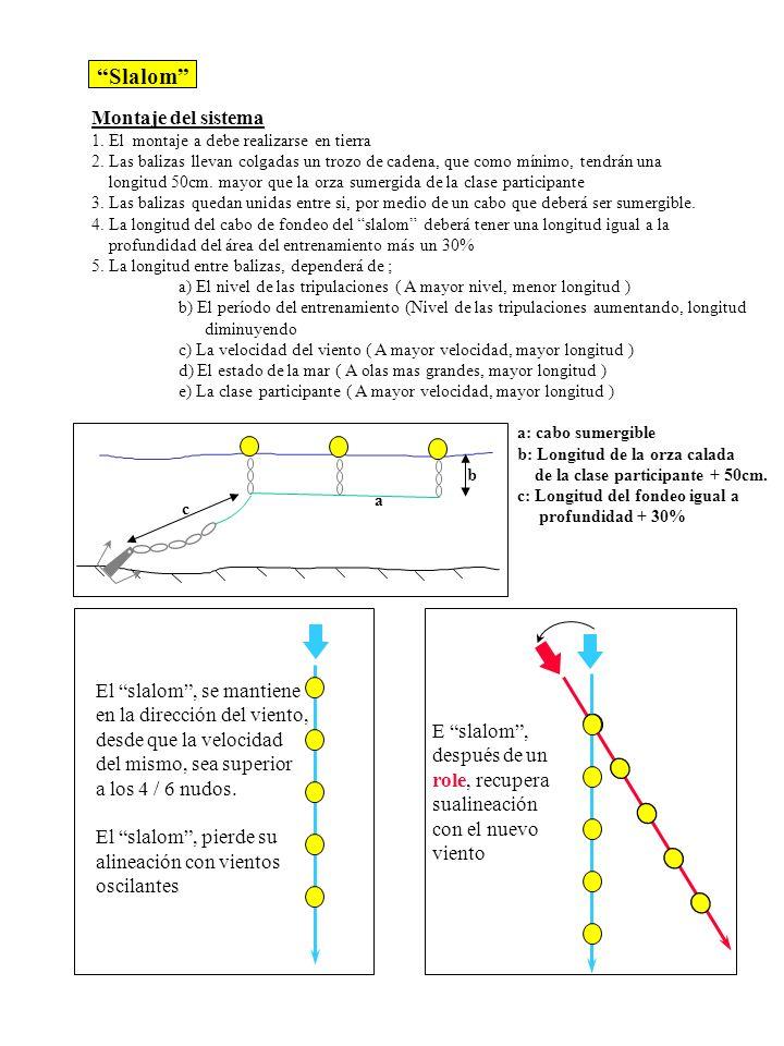 Slalom Montaje del sistema 1. El montaje a debe realizarse en tierra 2. Las balizas llevan colgadas un trozo de cadena, que como mínimo, tendrán una l