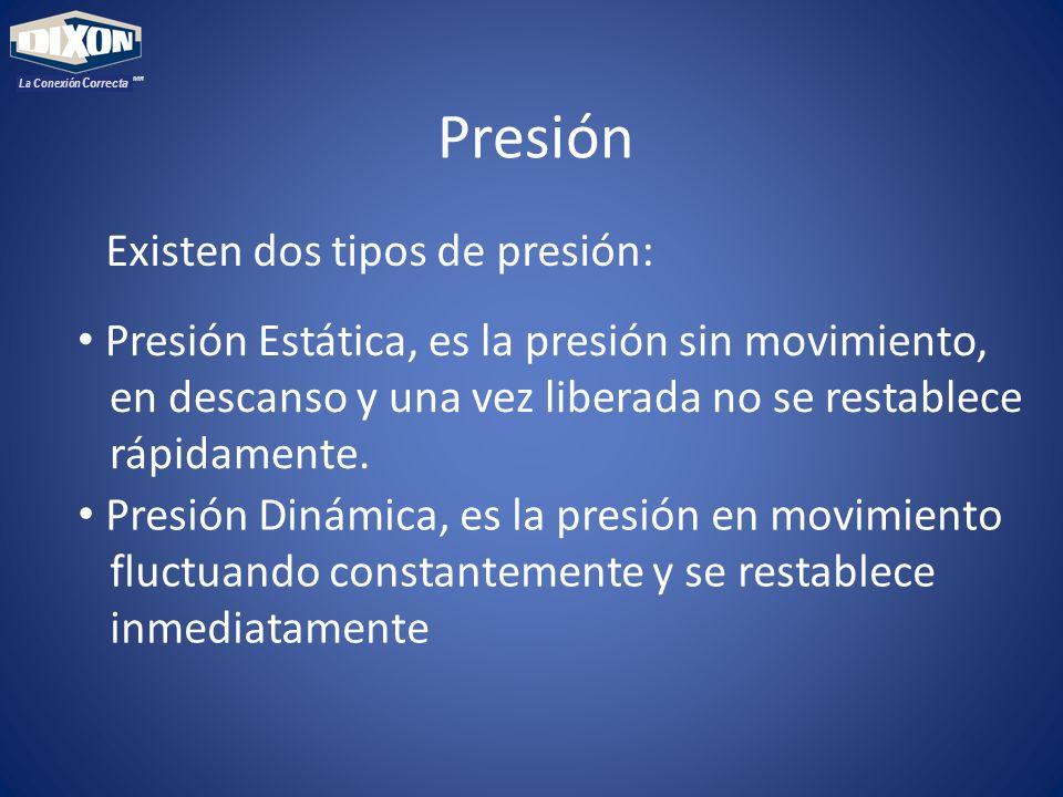 MR La Conexión Correcta Presión Existen dos tipos de presión: Presión Estática, es la presión sin movimiento, en descanso y una vez liberada no se restablece rápidamente.