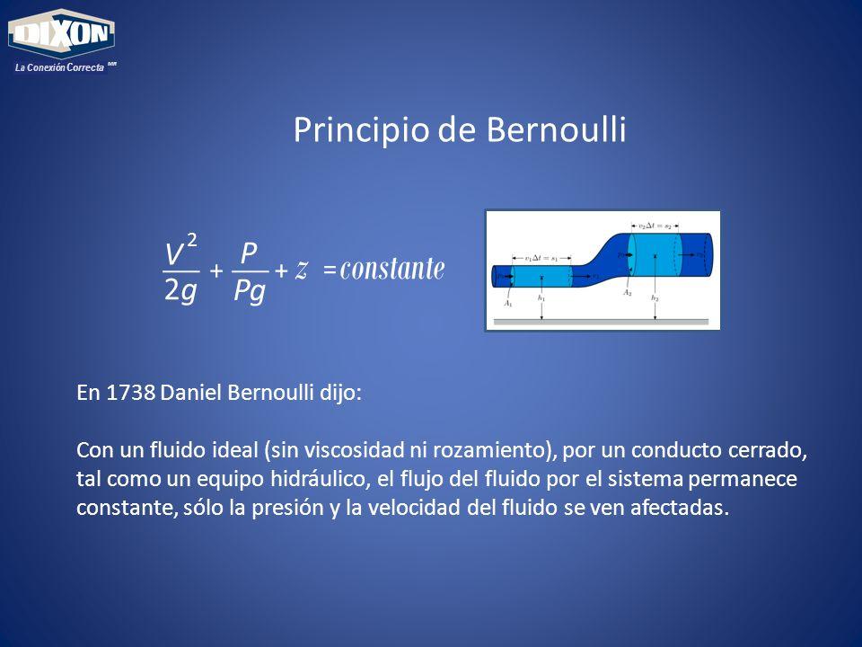 MR La Conexión Correcta En 1738 Daniel Bernoulli dijo: Con un fluido ideal (sin viscosidad ni rozamiento), por un conducto cerrado, tal como un equipo hidráulico, el flujo del fluido por el sistema permanece constante, sólo la presión y la velocidad del fluido se ven afectadas.