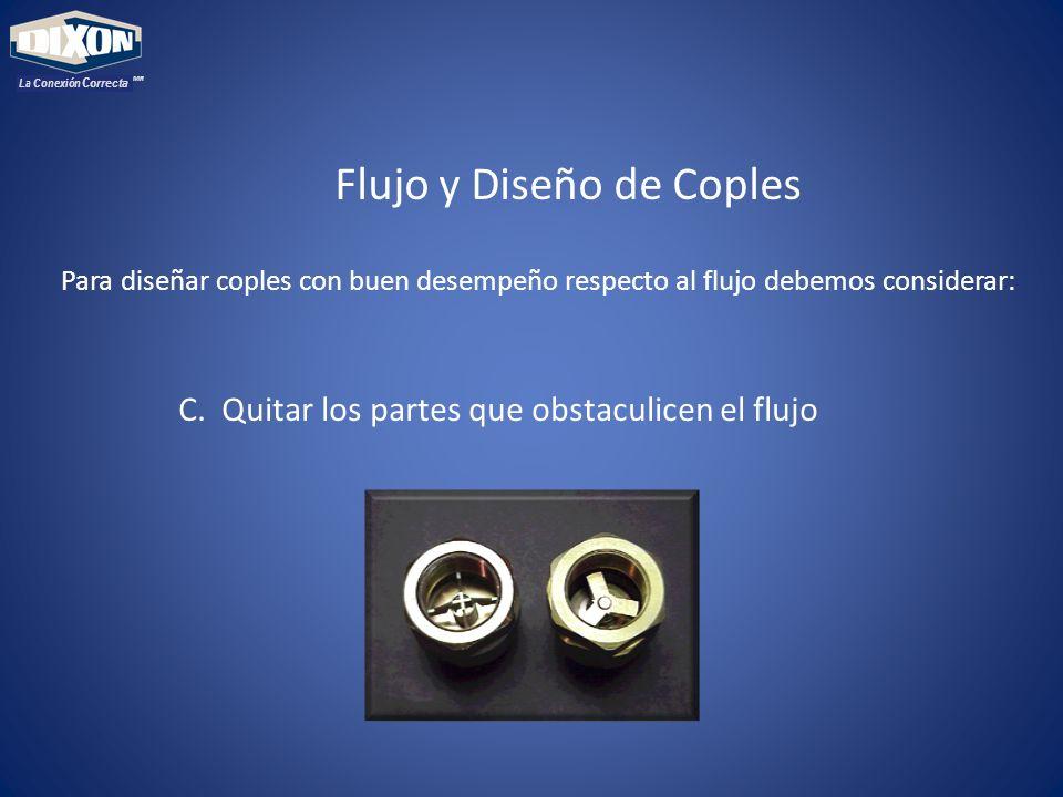 MR La Conexión Correcta Flujo y Diseño de Coples Para diseñar coples con buen desempeño respecto al flujo debemos considerar: C.