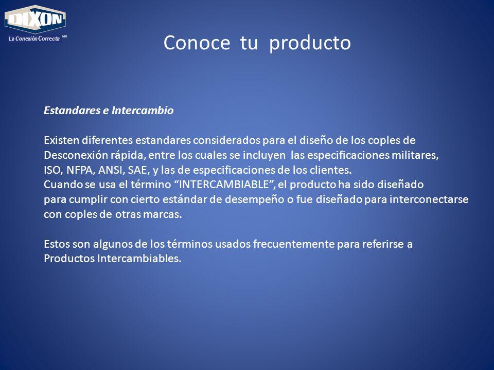 MR La Conexión Correcta Conoce tu producto Estandares e Intercambio Existen diferentes estandares considerados para el diseño de los coples de Desconexión rápida, entre los cuales se incluyen las especificaciones militares, ISO, NFPA, ANSI, SAE, y las de especificaciones de los clientes.